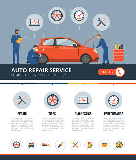 auto repair service - mechanic stock illustrations, clip art, cartoons, & icons