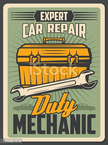 Car repair service old vintage poster. Auto mechanic and technician toolbox with spanner or wrench and other tools banner. Garage and workshop signboard design