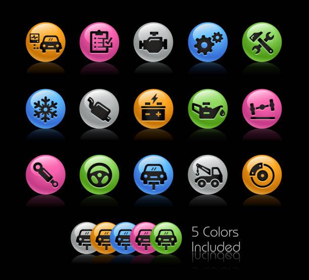 bildbanksillustrationer, clip art samt tecknat material och ikoner med bilverkstäder tjänster ikoner / / gelcolor serien - wheel black background