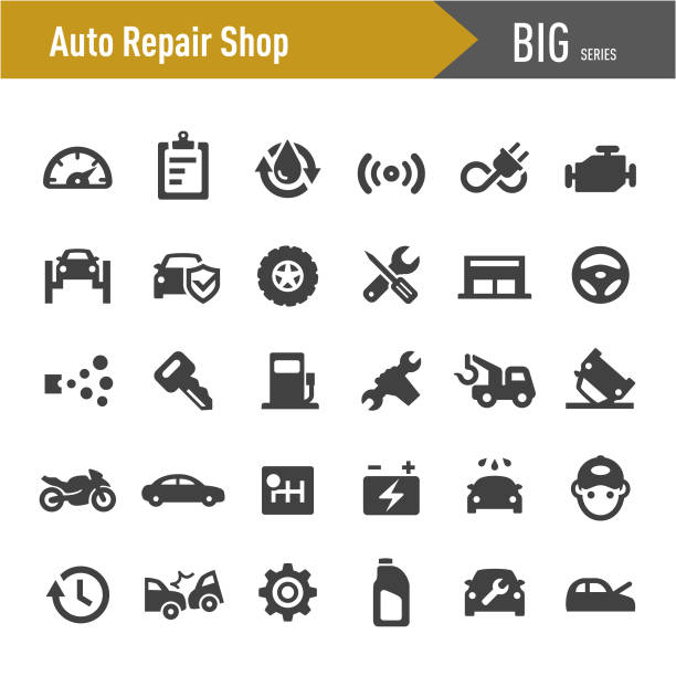 auto repair shop icons-big series - autowerkstatt stock-grafiken, -clipart, -cartoons und -symbole