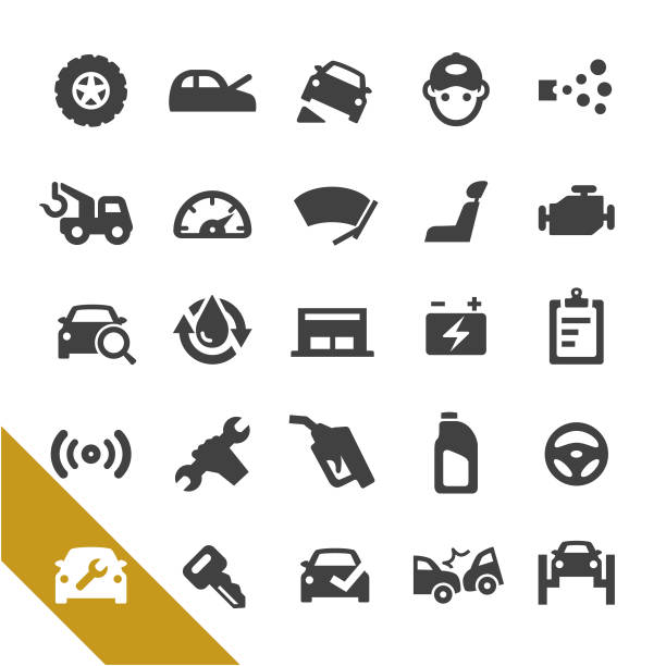 Auto Repair Shop Icons - Select Series Auto Repair Shop, repairing, Maintenance repairing stock illustrations