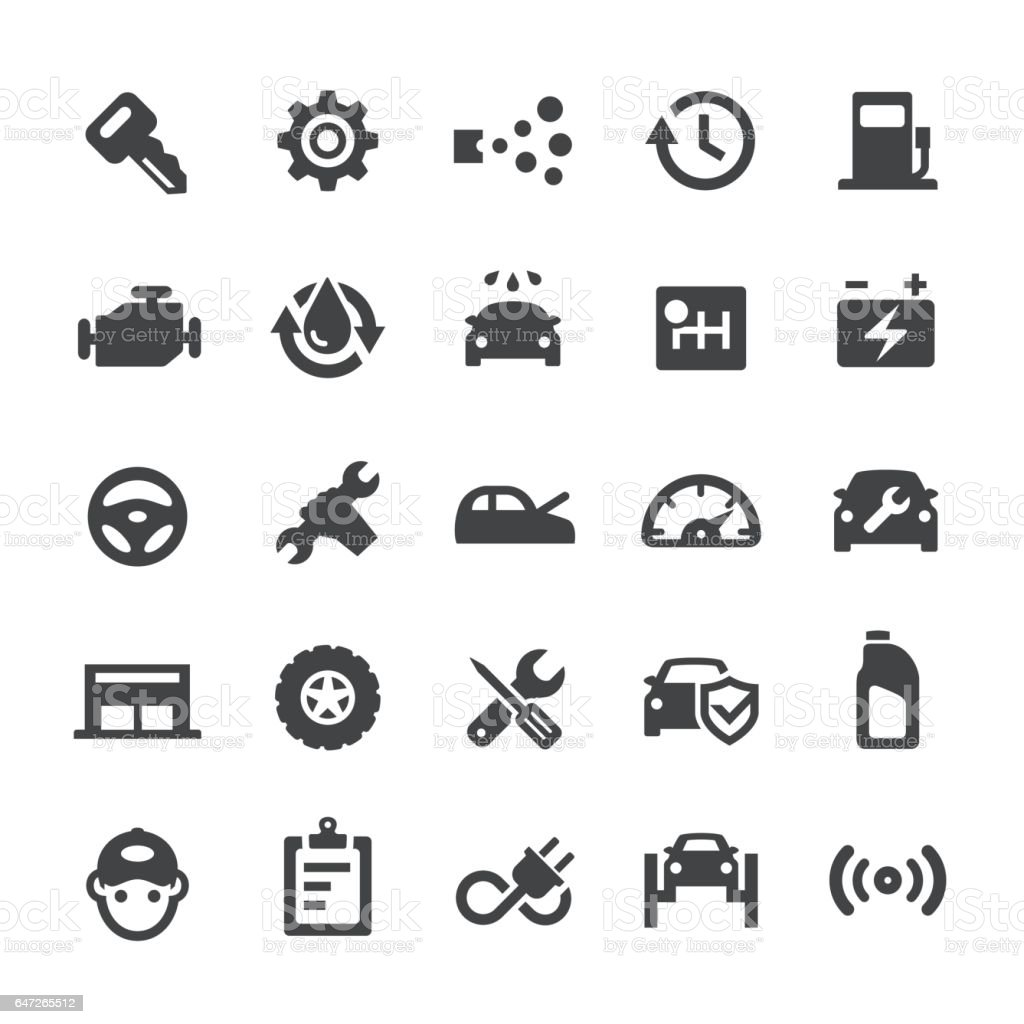 Auto Repair Shop Icons - Smart Series vector art illustration