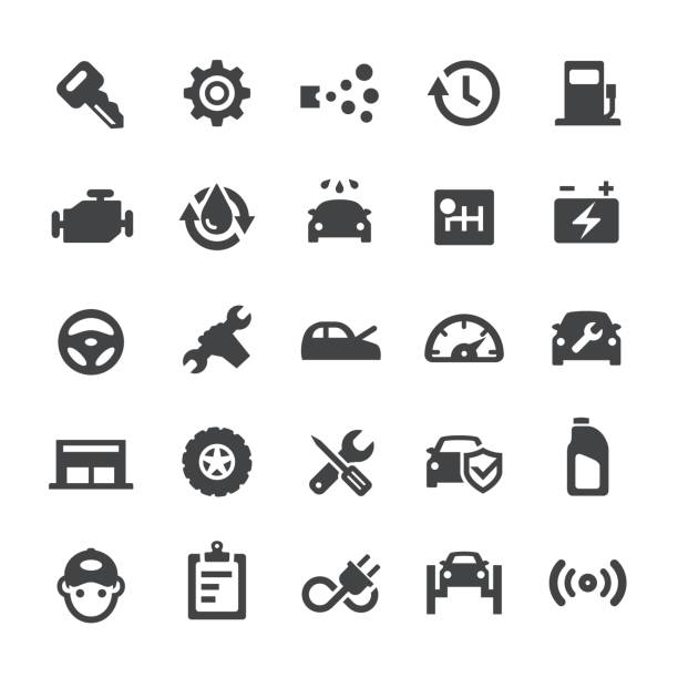 auto repair shop icons - smart series - mechanic stock illustrations, clip art, cartoons, & icons