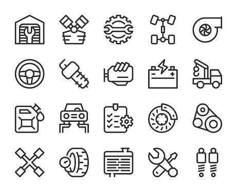 Auto Repair Shop - Line Icons