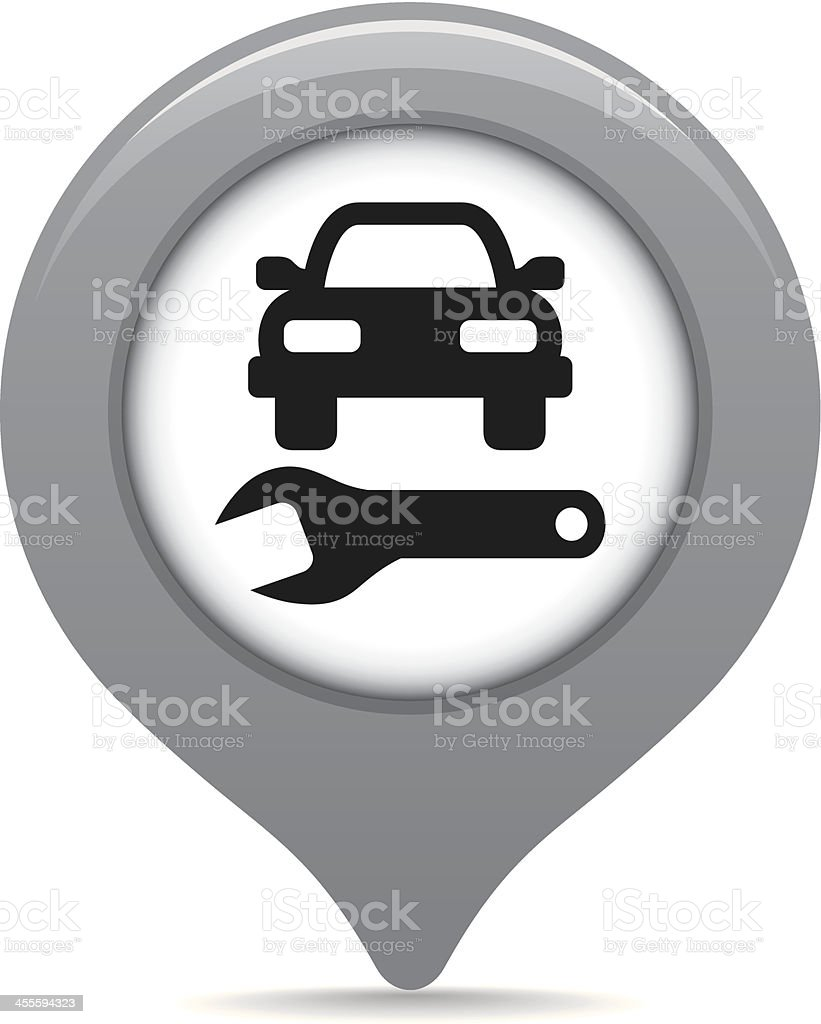Auto repair shop map pointer vector art illustration
