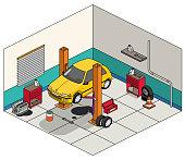 isometric car repair shop