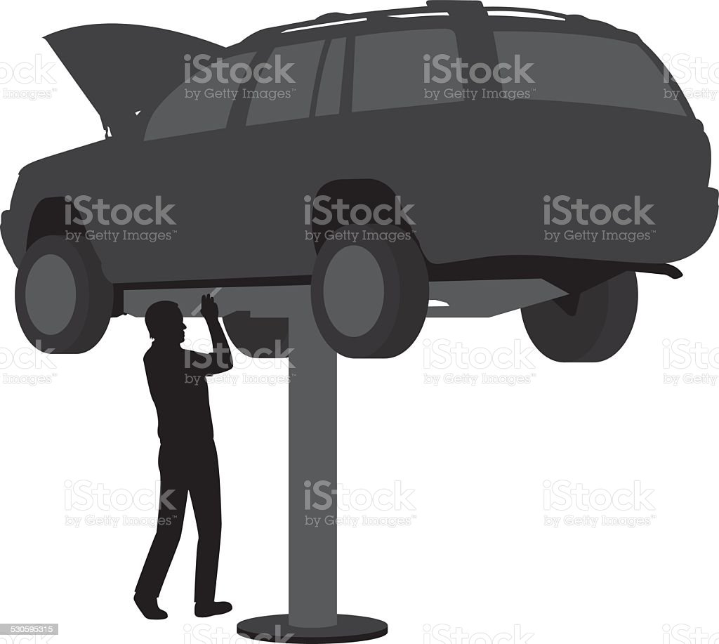 Auto Repair Silhouette vector art illustration