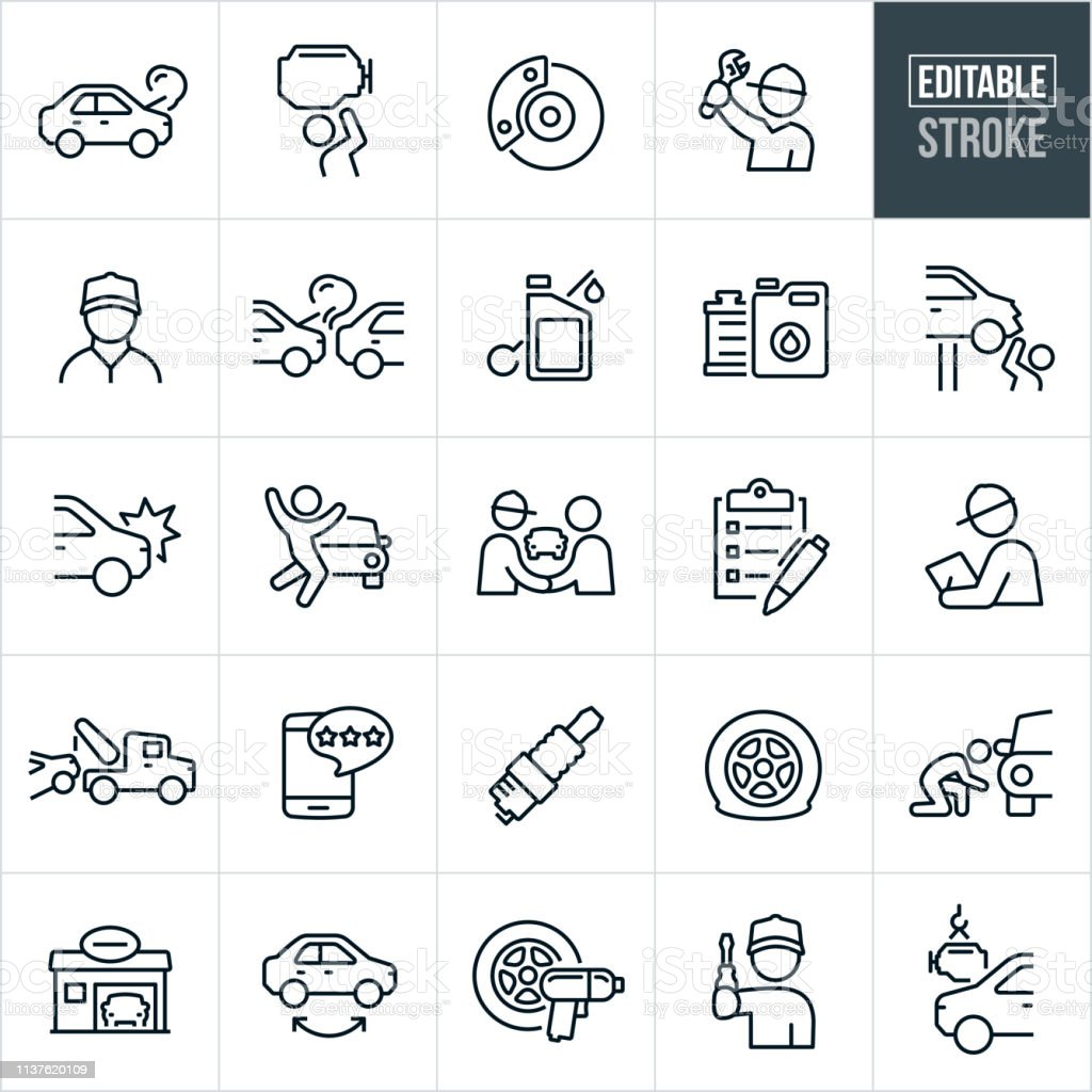 Auto Repair Thin Line Icons - Editable Stroke A set of automobile repair icons that include editable strokes or outlines using the EPS vector file. The icons include mechanics, broken down car, engine repair, car brakes, car accident, oil, radiator, auto body damage, tow truck, tires, spark plug, auto body shop, tire rotation, flat tire and engine installation to name just a few. Adult stock vector
