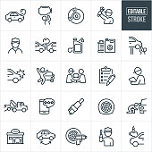 A set of automobile repair icons that include editable strokes or outlines using the EPS vector file. The icons include mechanics, broken down car, engine repair, car brakes, car accident, oil, radiator, auto body damage, tow truck, tires, spark plug, auto body shop, tire rotation, flat tire and engine installation to name just a few.