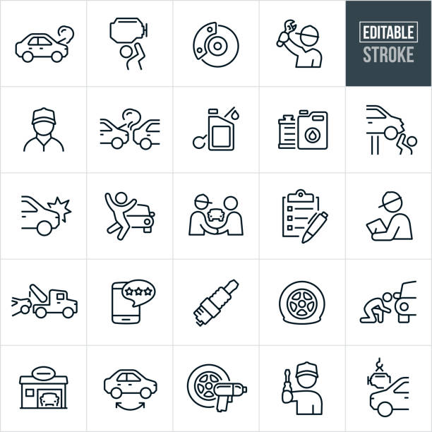 Auto Repair Thin Line Icons - Editable Stroke A set of automobile repair icons that include editable strokes or outlines using the EPS vector file. The icons include mechanics, broken down car, engine repair, car brakes, car accident, oil, radiator, auto body damage, tow truck, tires, spark plug, auto body shop, tire rotation, flat tire and engine installation to name just a few. mechanic stock illustrations