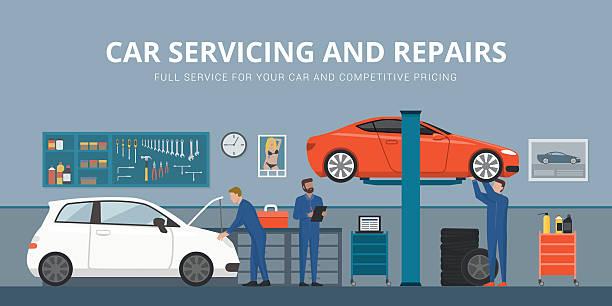 auto repair - autowerkstatt stock-grafiken, -clipart, -cartoons und -symbole