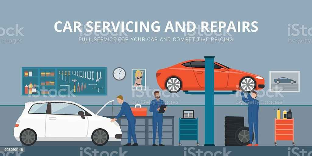 Auto repair vector art illustration