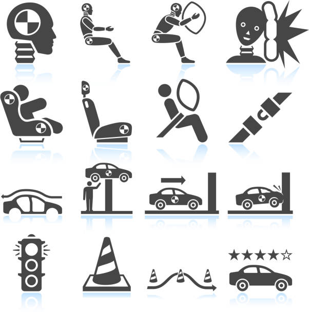 Auto safety testing black & white vector icon set Auto safety testing black & white icon set test drive stock illustrations