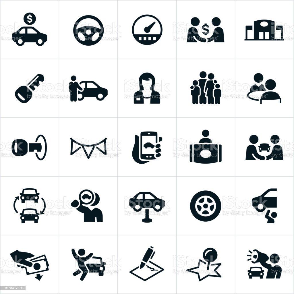Auto Sales Icons vector art illustration