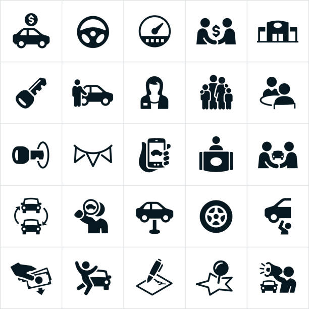 Auto Sales Icons An icon set of auto sales related themes. The icons include vehicles for sale, car salesmen, auto dealership, auto repair, purchasing a car and car shopping among others. lease agreement stock illustrations