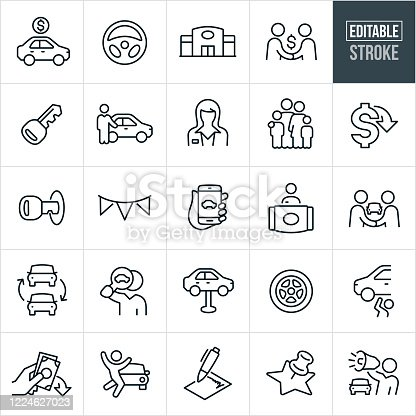 A set of auto sales icons that include editable strokes or outlines using the EPS vector file. The icons include a car for sale with a price, steering wheel, auto dealership, car salesman shaking hands with a customer, car key, car salesman pointing to new car, female car salesman, family, lower cost, banner, car search online using smartphone, car dealership front desk clerk, car trade in, car search, auto repair, car tire, money down, excited customer, sales contract, and a car salesman using a bullhorn to name a few.