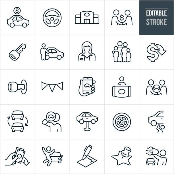 Auto Sales Thin Line Icons - Editable Stroke A set of auto sales icons that include editable strokes or outlines using the EPS vector file. The icons include a car for sale with a price, steering wheel, auto dealership, car salesman shaking hands with a customer, car key, car salesman pointing to new car, female car salesman, family, lower cost, banner, car search online using smartphone, car dealership front desk clerk, car trade in, car search, auto repair, car tire, money down, excited customer, sales contract, and a car salesman using a bullhorn to name a few. automobile industry stock illustrations