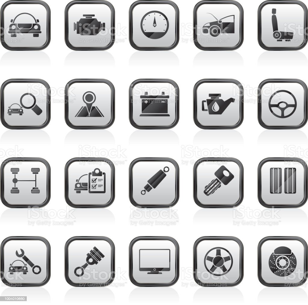 Auto service and car part icons vector art illustration