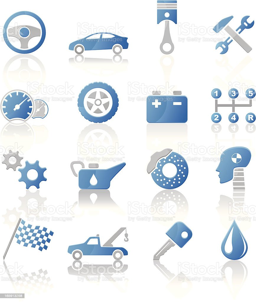 Auto service and repair icons - blue gray royalty-free auto service and repair icons blue gray stock vector art & more images of auto repair shop