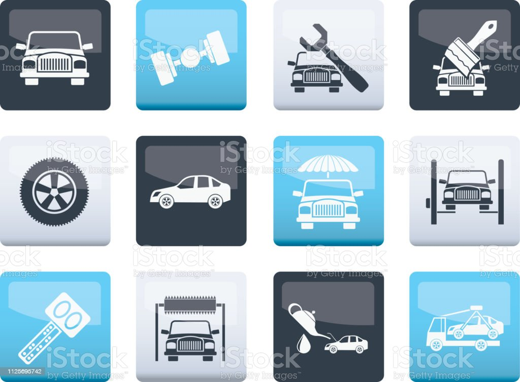 Auto service and transportation icons over color background vector art illustration