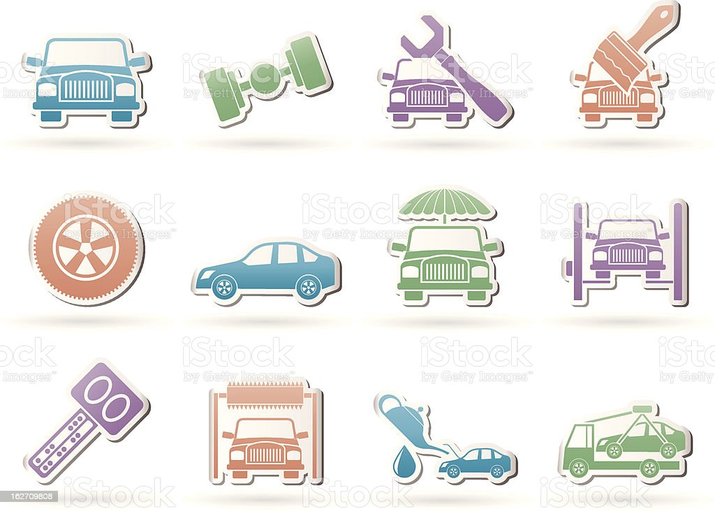 auto service and transportation icons royalty-free stock vector art