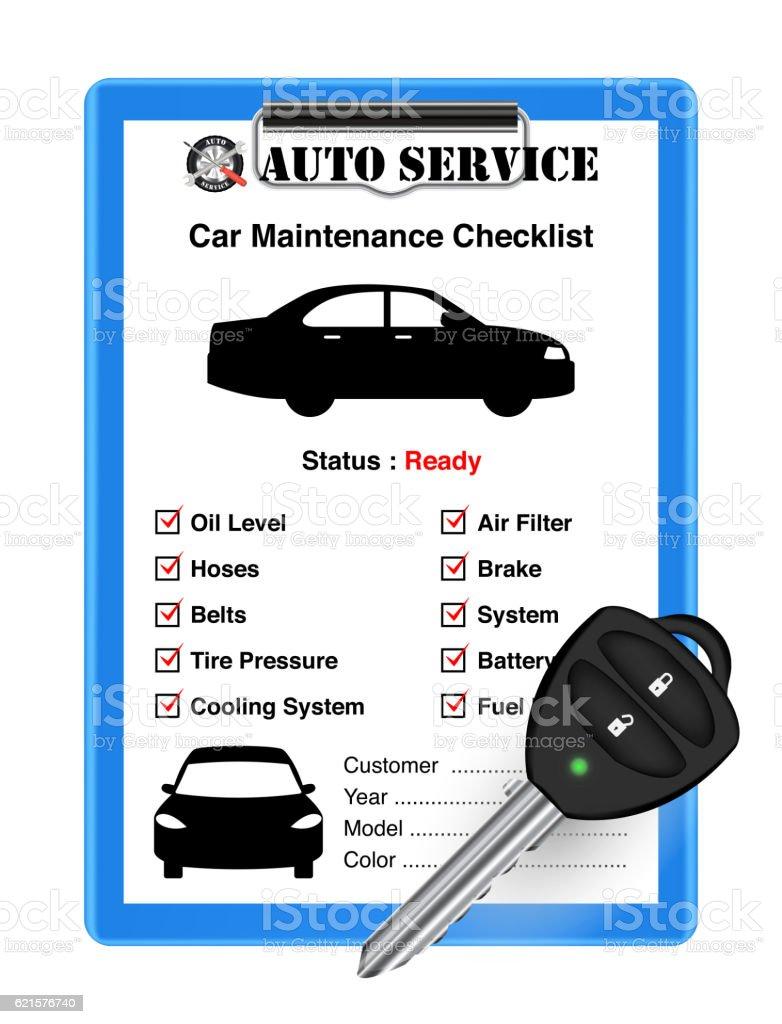 auto service car check sheet with car remote key auto service car check sheet with car remote key – cliparts vectoriels et plus d'images de affaires libre de droits