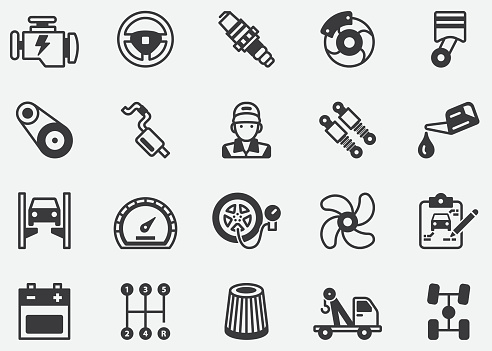 Auto service ,Car Features Pixel Perfect Icons