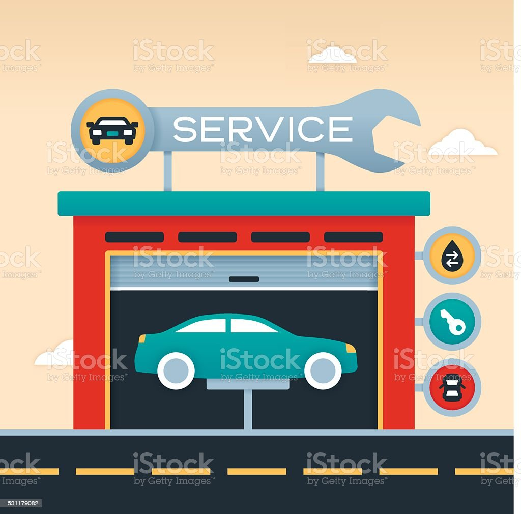 Auto Service Garage vector art illustration