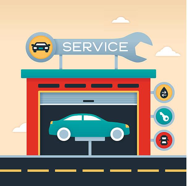 ilustrações, clipart, desenhos animados e ícones de garagem automático serviço - garage