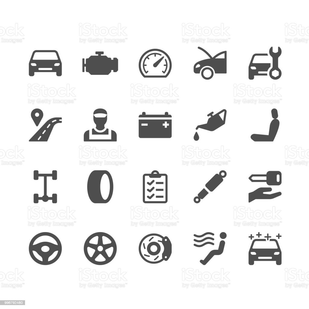 Auto service glyph icons vector art illustration