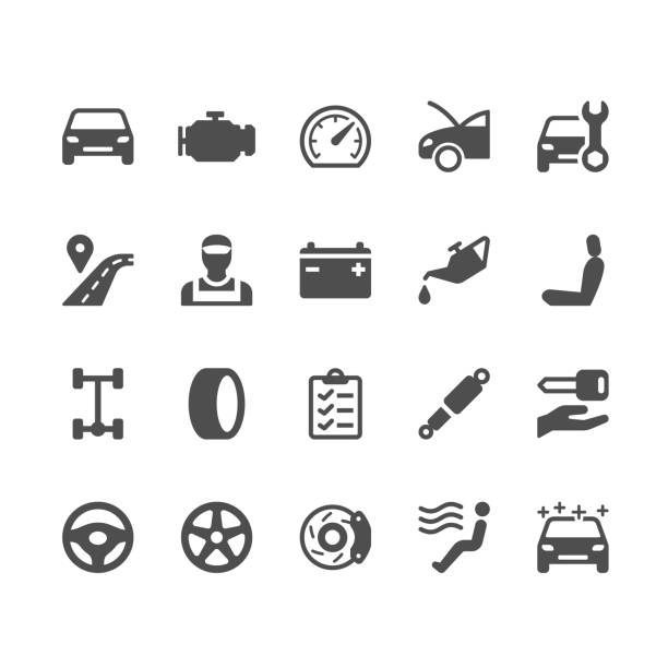 illustrazioni stock, clip art, cartoni animati e icone di tendenza di auto service glyph icons - car
