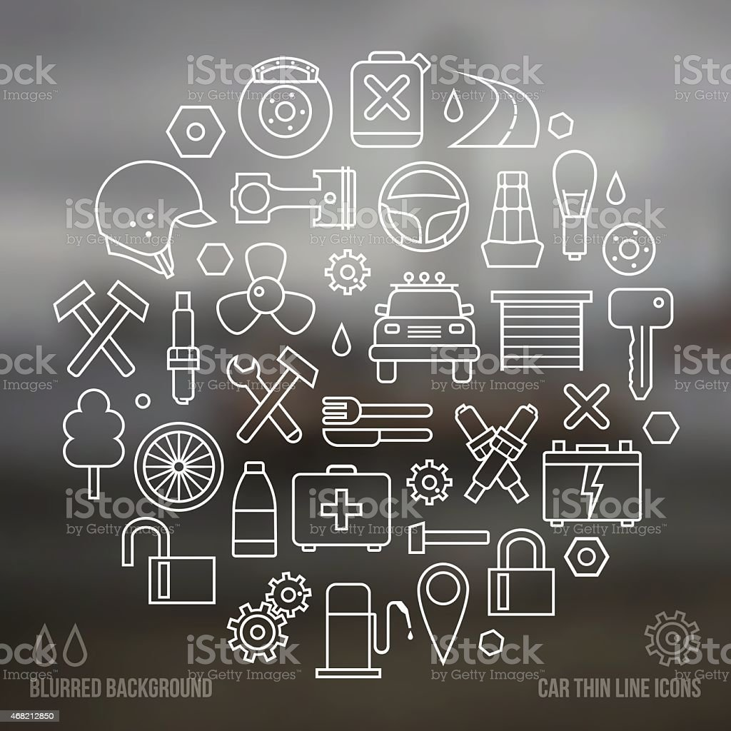 Auto service icons set and blurred background vector art illustration