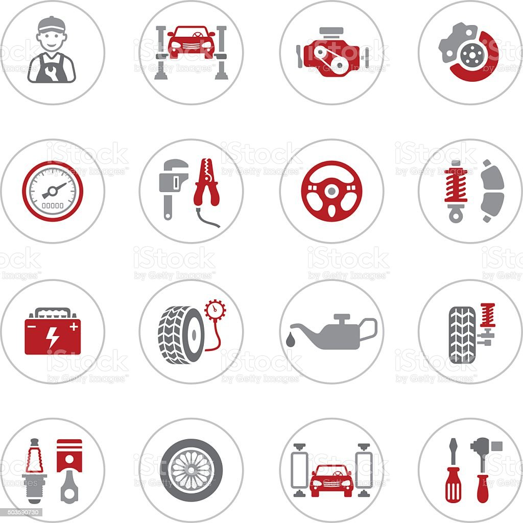 Auto Service Icons vector art illustration