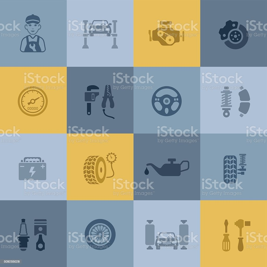 Auto Service Icons vector art illustration