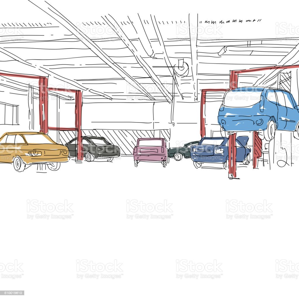 Auto Service Interior Design Sketch Hand Drawn Vector Illustration