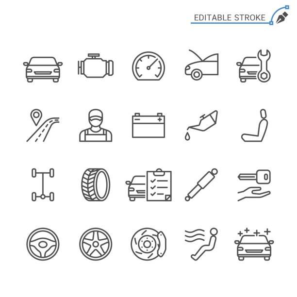 stockillustraties, clipart, cartoons en iconen met de pictogrammen van de lijn van de auto. bewerkbare beroerte. pixel perfect. - tyre