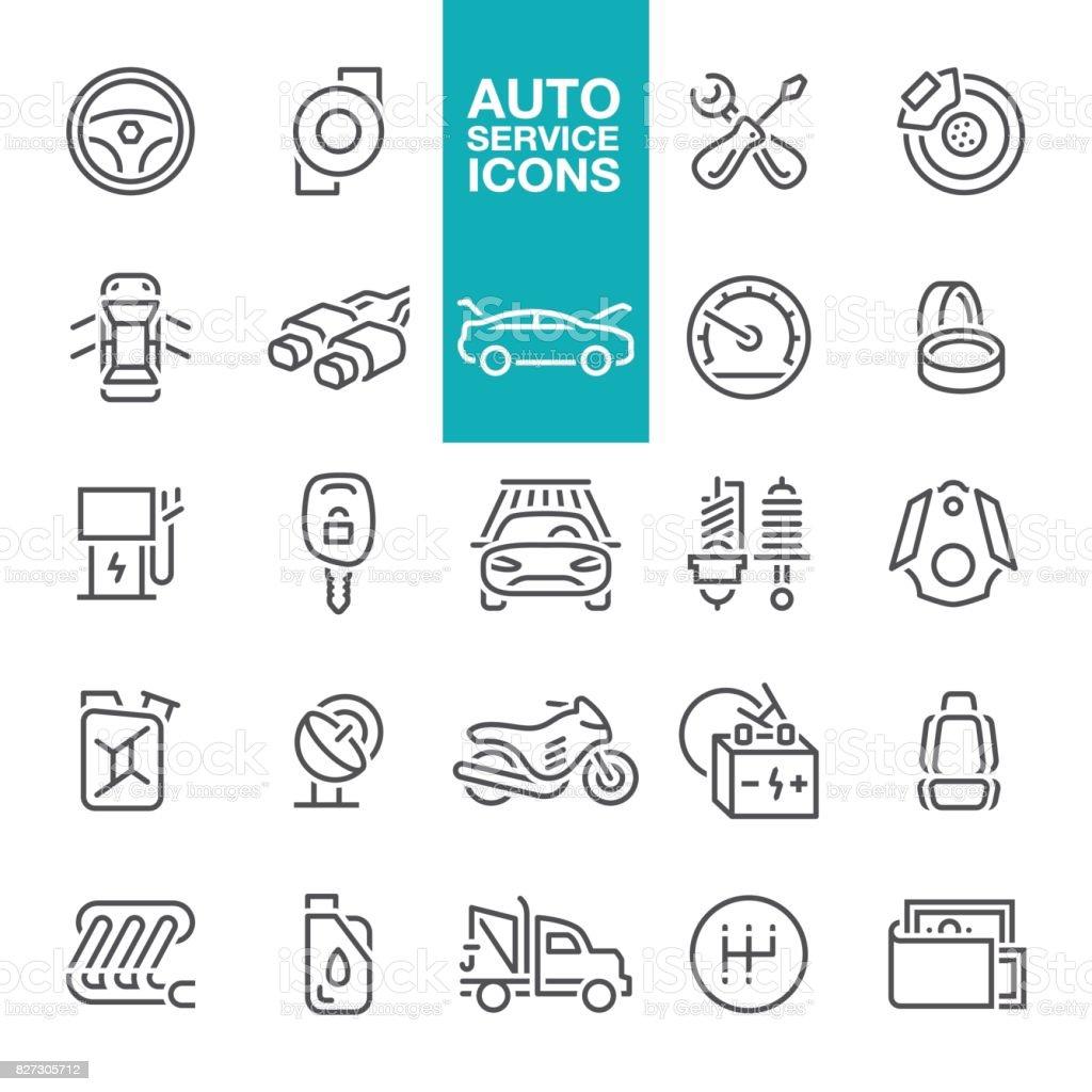 Auto service line icons vector art illustration