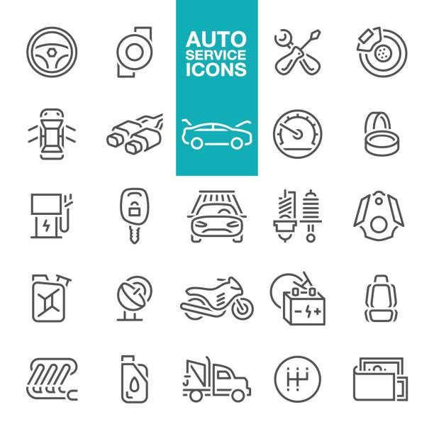 Auto service line icons vector art illustration