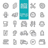 Auto service line icons