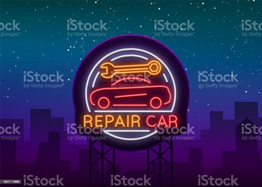 Auto Service Reparation Logo Style Neon Enseigne Au Neon Un Symbole