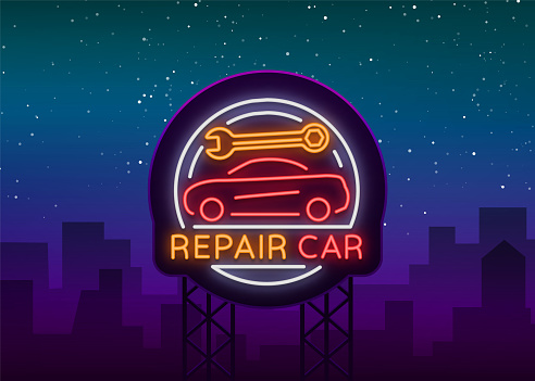 Auto service repair logo in neon style. Neon sign, a symbol on the topic of repairing cars. Emblem, bright banner, shiny sign, night non-neon bright advertising of auto repair. Vector illustration