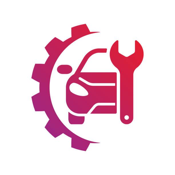 ilustraciones, imágenes clip art, dibujos animados e iconos de stock de señal de auto servicio. insignia de la reparación del coche. eps - ingeniero