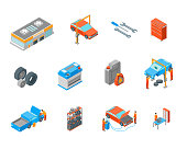 Auto Service Signs 3d Icon Set Isometric View Include of Wheel, Oil, Garage and Battery. Vector illustration of Icons