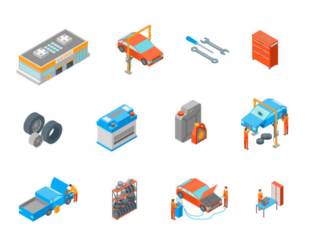 Auto Service Signs 3d Icon Set Isometric View. Vector Auto Service Signs 3d Icon Set Isometric View Include of Wheel, Oil, Garage and Battery. Vector illustration of Icons tire vehicle part stock illustrations
