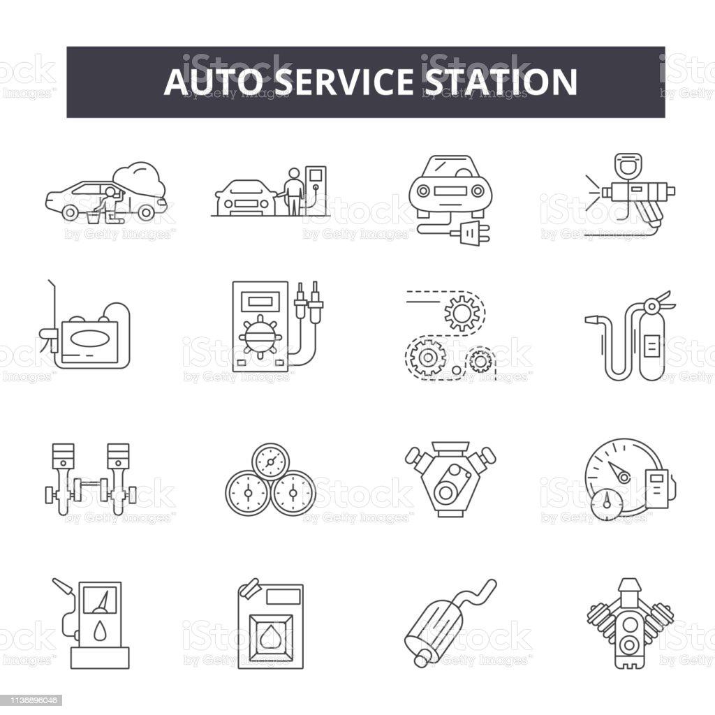 Icônes De Ligne De Station De Service Automatique Pour La Conception