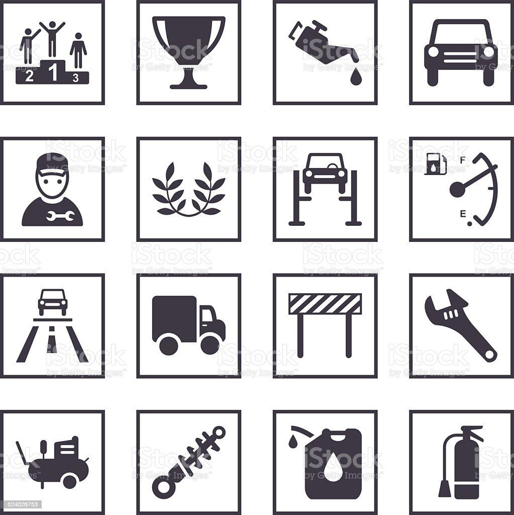 Auto Service Symbols vector art illustration