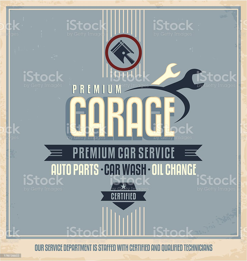 Auto service vintage poster design template vector art illustration