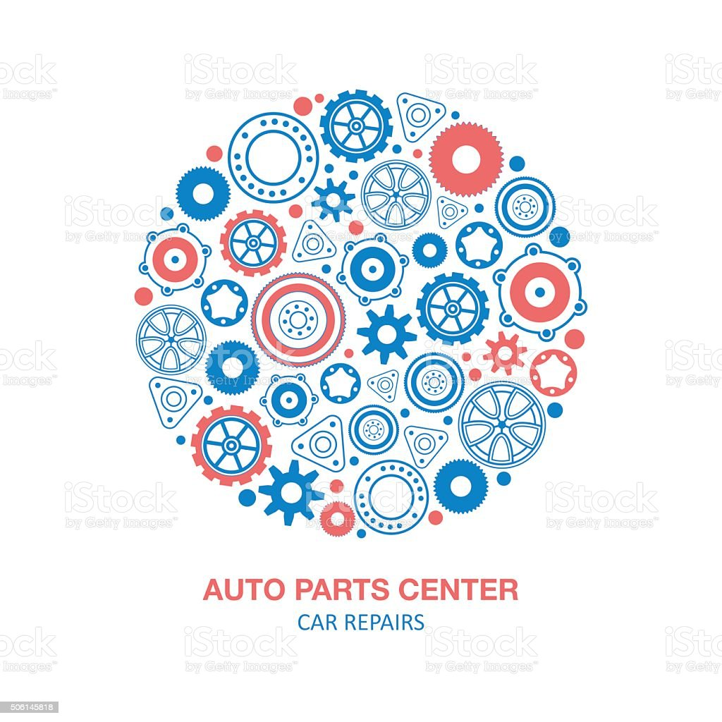 Auto spare parts circle background vector art illustration