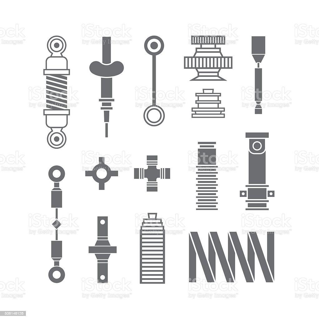 Auto spare parts icons set vector art illustration