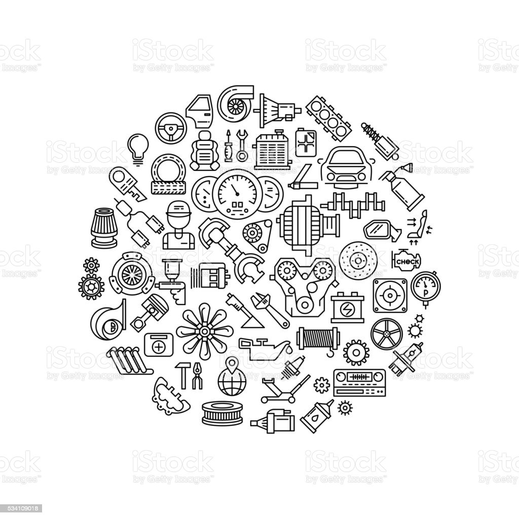 Auto spare parts line vector icons in circle composition vector art illustration